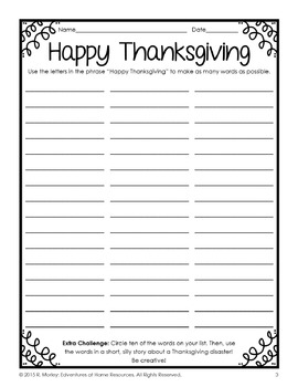 Thanksgiving Writing Activity Sampler