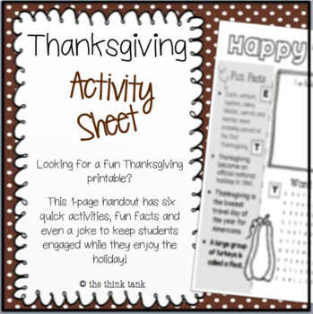 Thanksgiving Activity Sheet