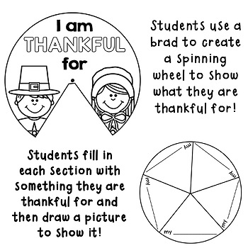 I am Thankful For : Thanksgiving Activity
