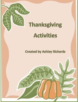 Thanksgiving Activity Unit - Pilgrims and Indians