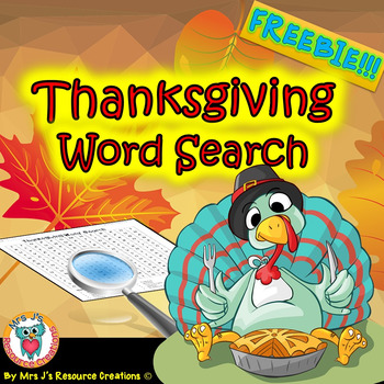 Thanksgiving Activity Word Search FREE
