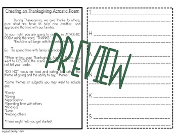 Thanksgiving Activity-Wreath-Acrostic Poem & Writing Prompt