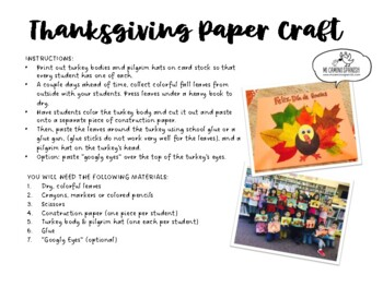 "Thanksgiving Activity for Spanish Students! - ""Feliz Día de Gracias"""