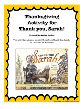 """Thanksgiving Activity for """"Thank You, Sarah"""" Book"""