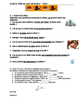 Thanksgiving Activity with French Object Pronouns