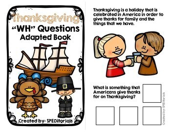 Thanksgiving Adapted Book (WH Questions)