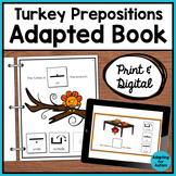 Thanksgiving Adapted Book for Special Education | Prepositions