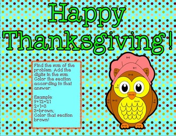 Thanksgiving Add, Add the Digits, Color by Number