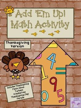 Thanksgiving Add 'Em Up! Math Activity