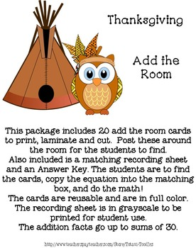 Thanksgiving - Add the Room - Sums to 30