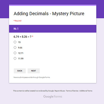 Thanksgiving: Adding Decimals - Math Mystery Picture - Google Forms