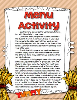 Thanksgiving Adding Decimals Restaurant Activity