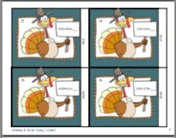 Thanksgiving Adding Decimals Task Cards