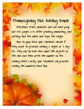 Thanksgiving Adding Dice Game!