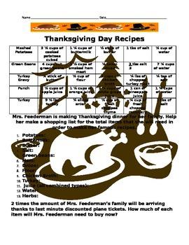 Thanksgiving Adding Fractions Recipe Worksheet