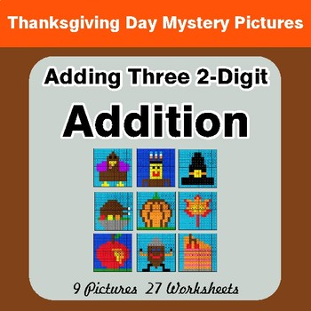 Thanksgiving: Adding Three 2-Digit Addition - Color-By-Number Math Mystery Pictures
