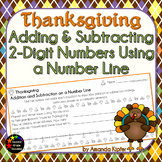 Thanksgiving Adding and Subtracting 2-Digit Numbers on a Number Line