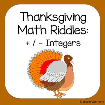 Thanksgiving Adding and Subtracting Integers Math RIddles