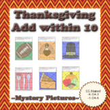 Thanksgiving Adding and Subtracting Within 10 Mystery Pictures