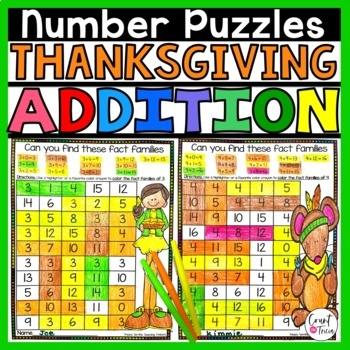 Thanksgiving Addition Number Puzzles