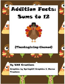 Thanksgiving Addition Cards (Sums to 12)