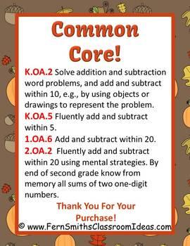 Thanksgiving Math Addition Math Center Games