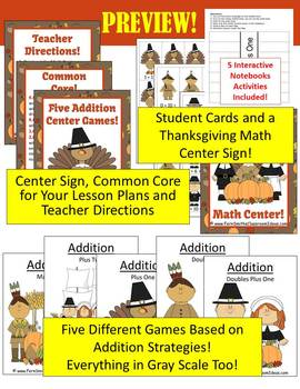 Thanksgiving Math Center Games for Addition