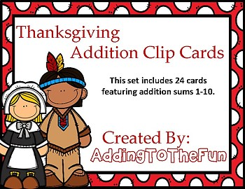 Thanksgiving Addition Clip Cards