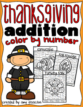 Thanksgiving Addition Color by Number