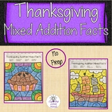 Thanksgiving Addition Color by Number - Mixed Addition Facts