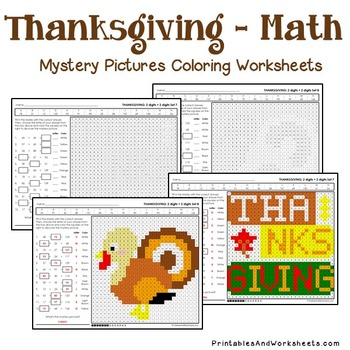 Thanksgiving Addition Coloring Pages, Thanksgiving Math Coloring Pages