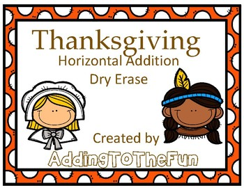 Thanksgiving Addition Dry Erase Cards