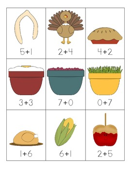 Thanksgiving Addition Fact Sort