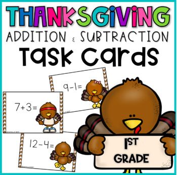 Thanksgiving Addition Facts Task Cards for First Grade