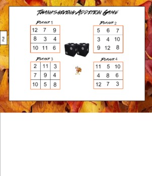 Thanksgiving Addition Game for Smart Board