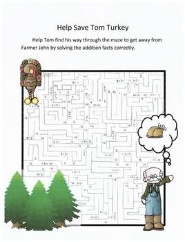 Thanksgiving Math Addition Maze Activity