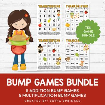 Thanksgiving Addition & Multiplication Bump Games Bundle