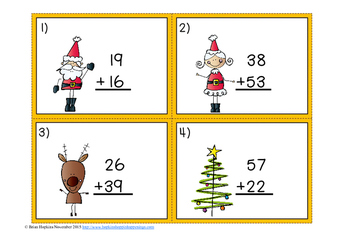 Christmas Addition Regrouping Task Cards