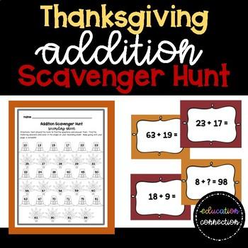 Thanksgiving Addition Scavenger Hunt