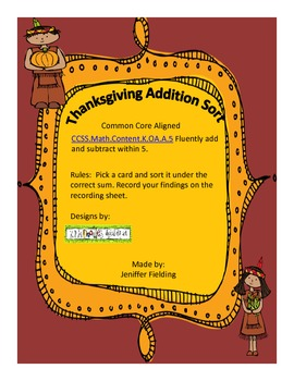 Thanksgiving Addition Sort (Fluency Through Five) Common Core Aligned