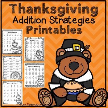 Thanksgiving Addition Strategies Printables