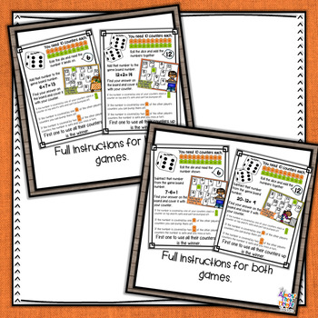 Thanksgiving Addition & Subtraction Bump Games Bundle - 38 Math Game Boards