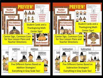 Thanksgiving Math Addition and Subtraction Math Center Games Bundle