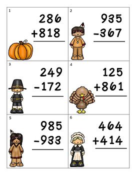 Thanksgiving Addition & Subtraction Task Cards/Math Center