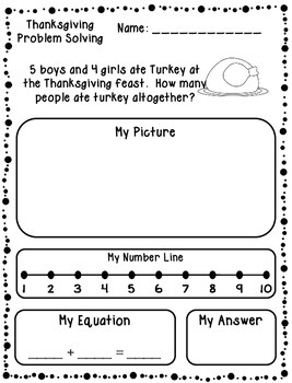 Thanksgiving Addition & Subtraction Word Problems (Kinderg