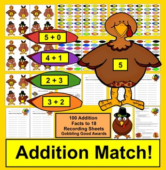 Addition Facts - 100 Turkeys for Thanksgiving Math!