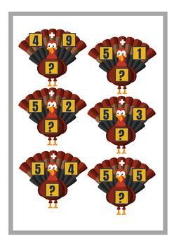Thanksgiving Addition Turkey - Kindergarten, Class 1 & 2 Math Center Activity