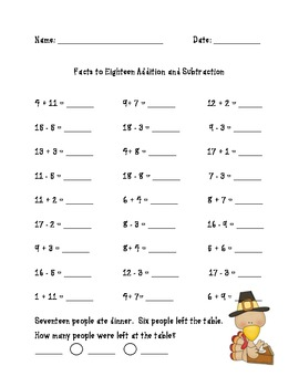 Thanksgiving Addition and Subtraction Activities With Word Problems Common Core