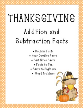 Thanksgiving Addition and Subtraction Activities With Word