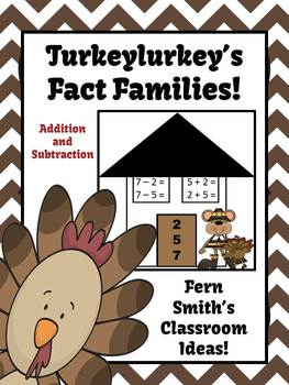 Thanksgiving Addition & Subtraction Fact Families Center Game & Activity